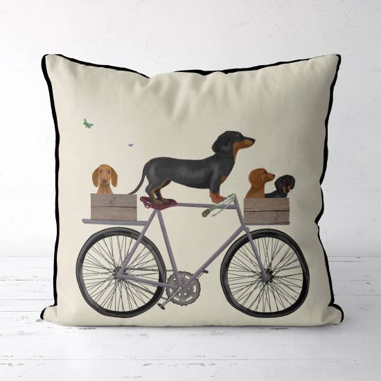 Dachshunds on Bicycle Pillow 18x18 - Horse Country Trading Company