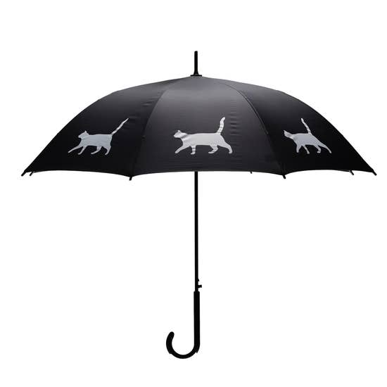 "White Cat 34.5"" Black Stick Umbrella - Horse Country Trading Company"