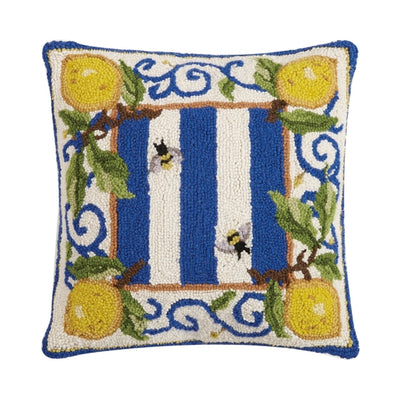 Lemon Delft Bee Hook Pillow - Horse Country Trading Company