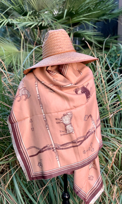 Imitation Cashmere Tan/Brown Wrap - Horse Country Trading Company