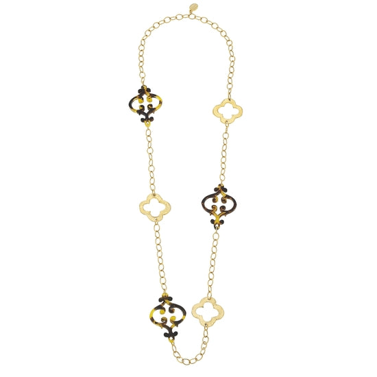 Gold Clover & French Swirl Necklace - Horse Country Trading Company
