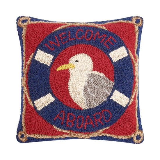 Welcome Aboard Seagull Hook Pillow - Horse Country Trading Company