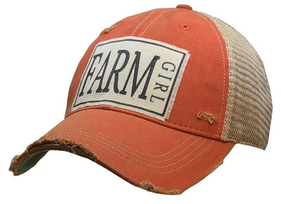 Farm Girl Distressed Trucker Cap Orange - Horse Country Trading Company