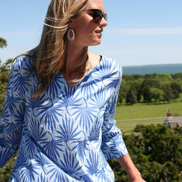 Palma Sky Long Split Neck Kaftan - Horse Country Trading Company