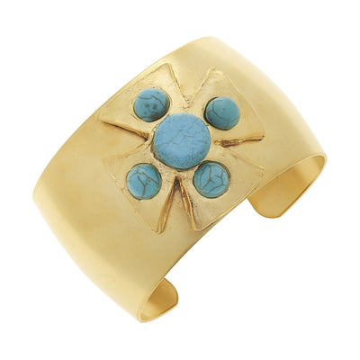 Gold and Turquoise Cuff Bracelet - Horse Country Trading Company