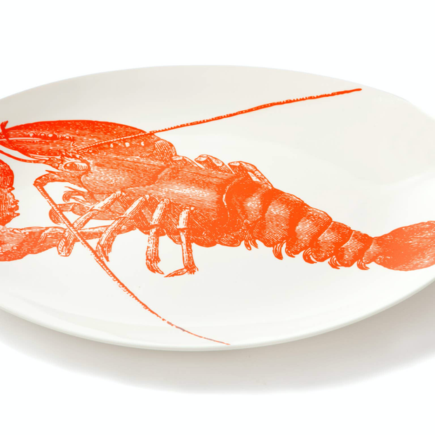 Sealife Lobster Oval Tray - Horse Country Trading Company