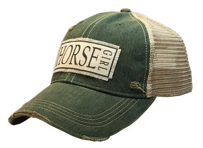 Horse Girl Distressed Trucker Cap Dark Green - Horse Country Trading Company