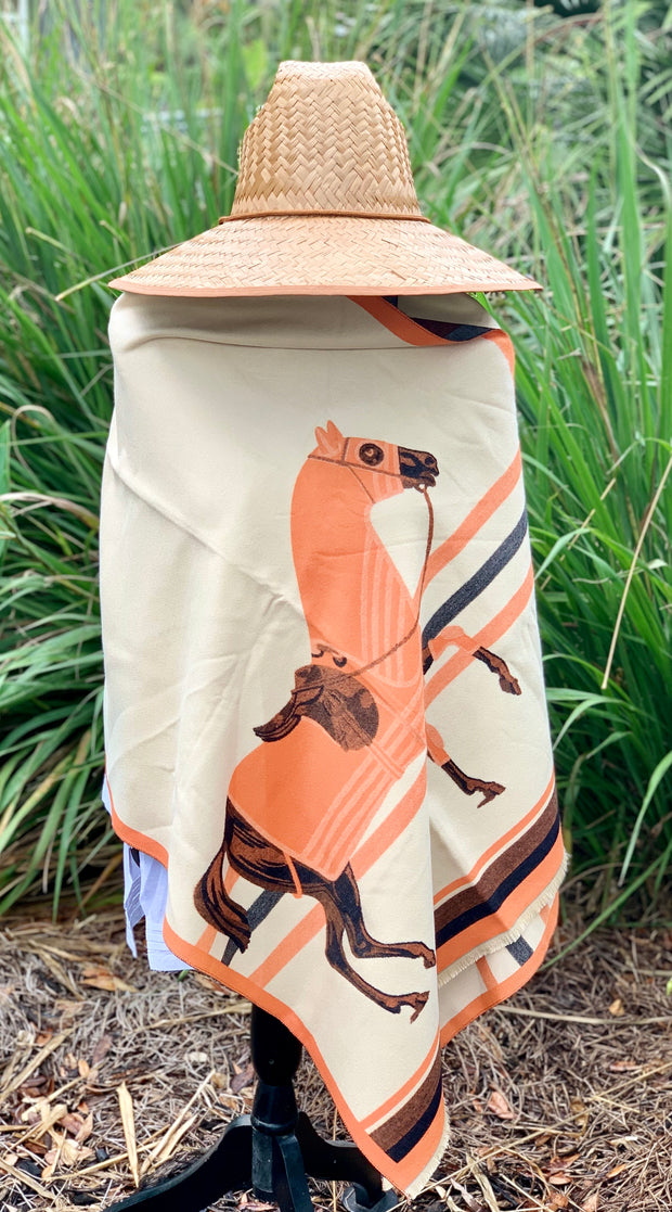 Imitation Cashmere Cream/Orange Wrap - Horse Country Trading Company