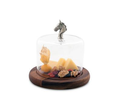Covered Wood Cheese Board - Horse Head Knob - Horse Country Trading Company