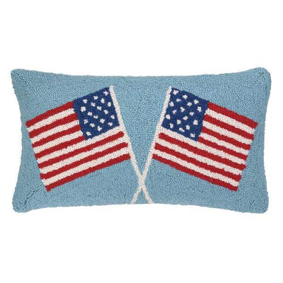Double American Flags Hook Pillow - Horse Country Trading Company