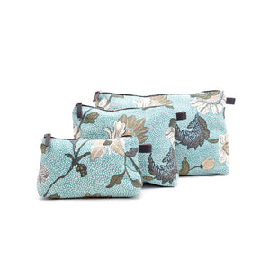 Cosmetic Bag | Linen | Aqua Flower - STOCKHOLM