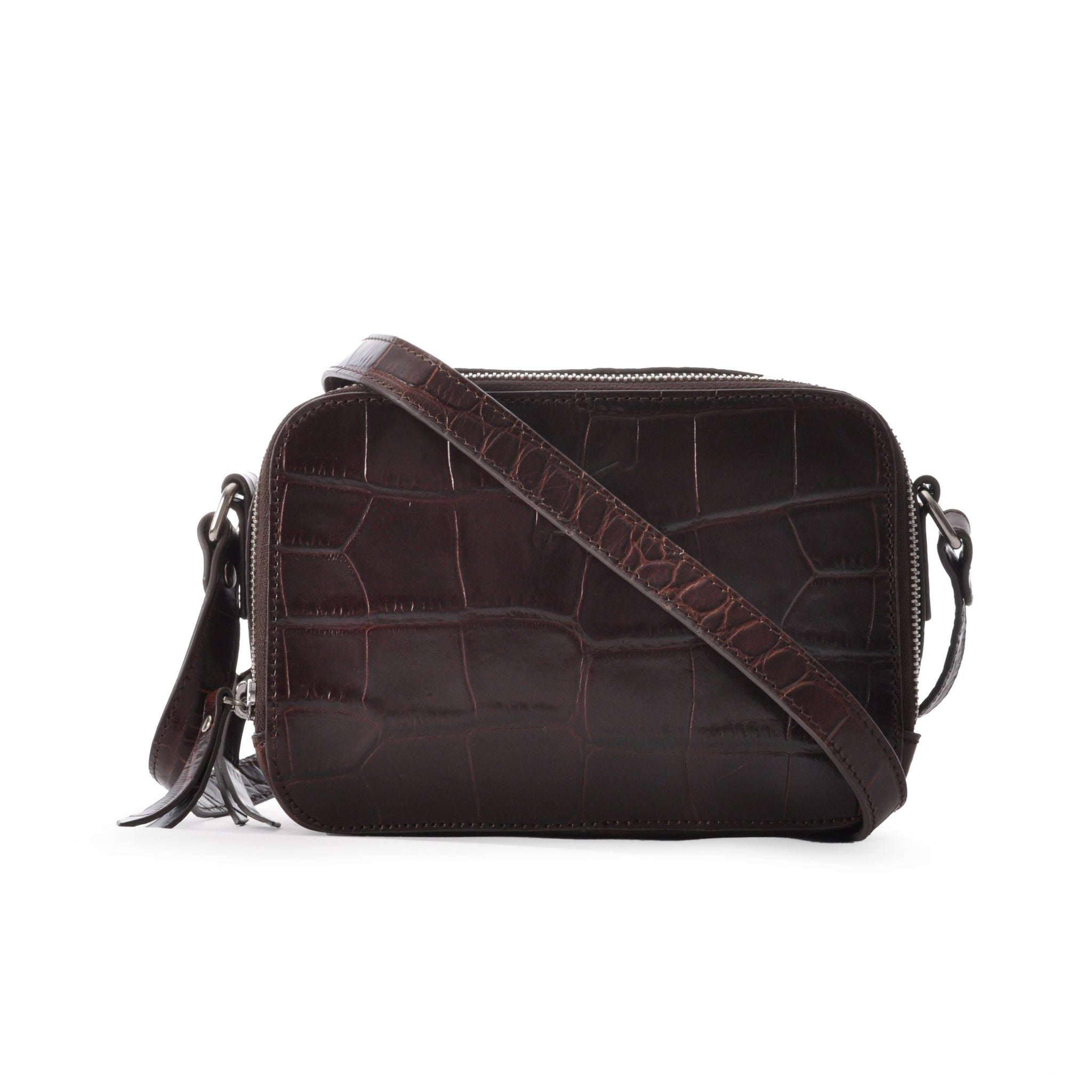 Crossbody Bag | Brown Croco | Embossed Leather - STOCKHOLM