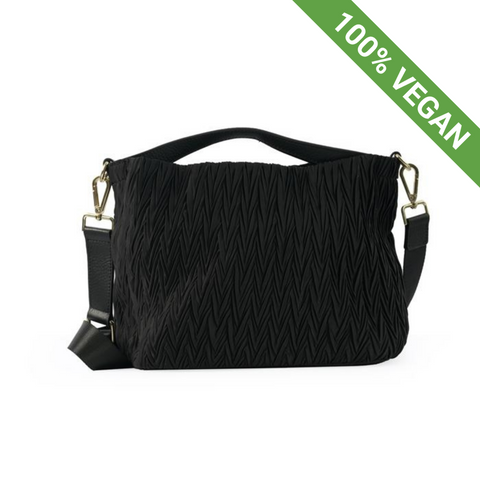 Pleated Small Shoulder Bag | Black | Vegan