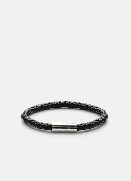 Leather Bracelet | 6mm | Silver | Black - STOCKHOLM