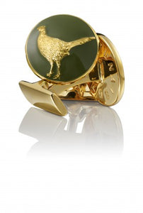 Cufflinks | The Hunter | Gold & Green | The Pheasant - STOCKHOLM