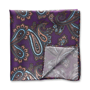 Pocket Square | Purple Orange Paisley | Silk - STOCKHOLM