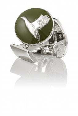 Cufflinks | The Hunter | Silver & Green | The Pheasant - STOCKHOLM