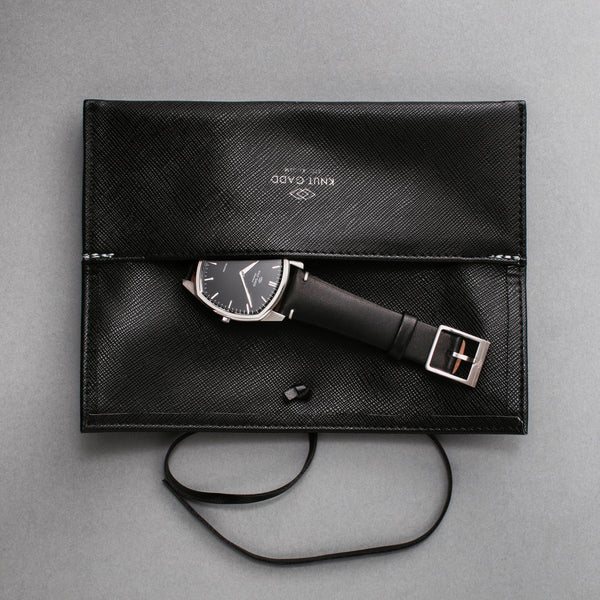 Decagon | Steel | Black | Black Leather - STOCKHOLM