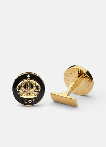 Cufflinks | The Skultuna Crown Gold | Baroque Black - STOCKHOLM