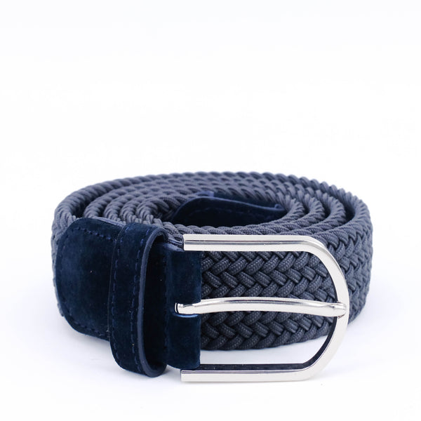 Braided Belt | Grey | Blue Suede | Steel - STOCKHOLM