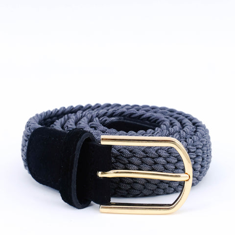 Slim Braided Belt | Grey | Black Suede | Gold - STOCKHOLM