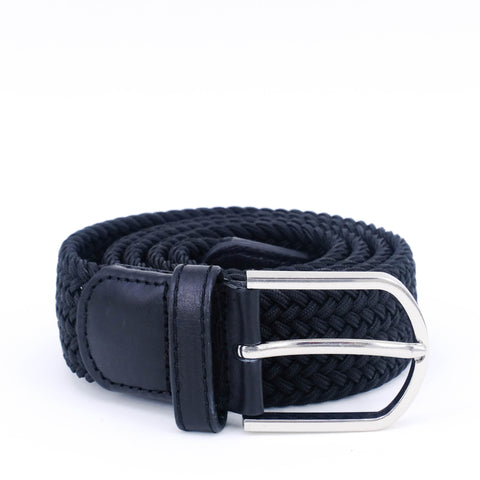Braided Belt | Black | Black leather | Steel - STOCKHOLM