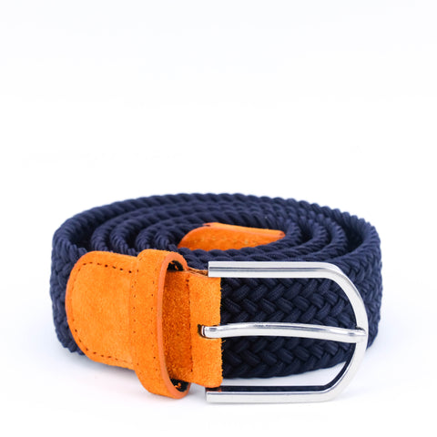 Braided Belt | Navy | Orange Suede - STOCKHOLM
