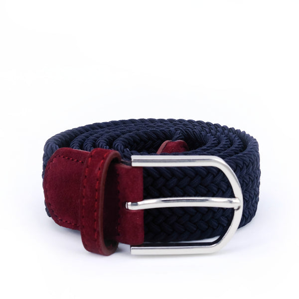 Braided Belt | Navy | Burgundy Suede | Steel - STOCKHOLM