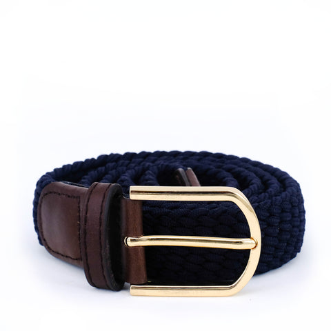 Slim Braided Belt | Navy | Brown Leather | Gold - STOCKHOLM
