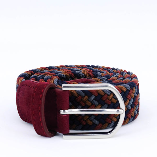 Braided Belt | Coffee Mix | Burgundy Suede | Steel - STOCKHOLM