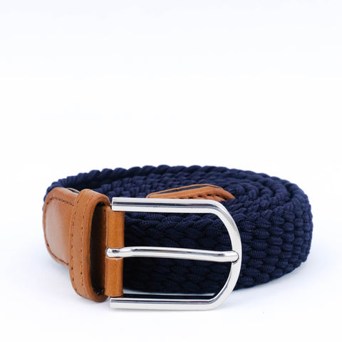 Slim Braided Belt | Navy | Cognac Leather | Steel - STOCKHOLM