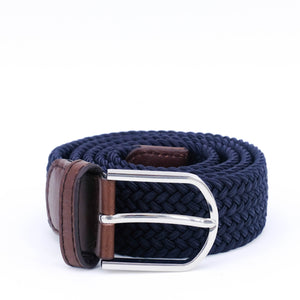 Braided Belt | Navy | Brown Leather | Steel - STOCKHOLM