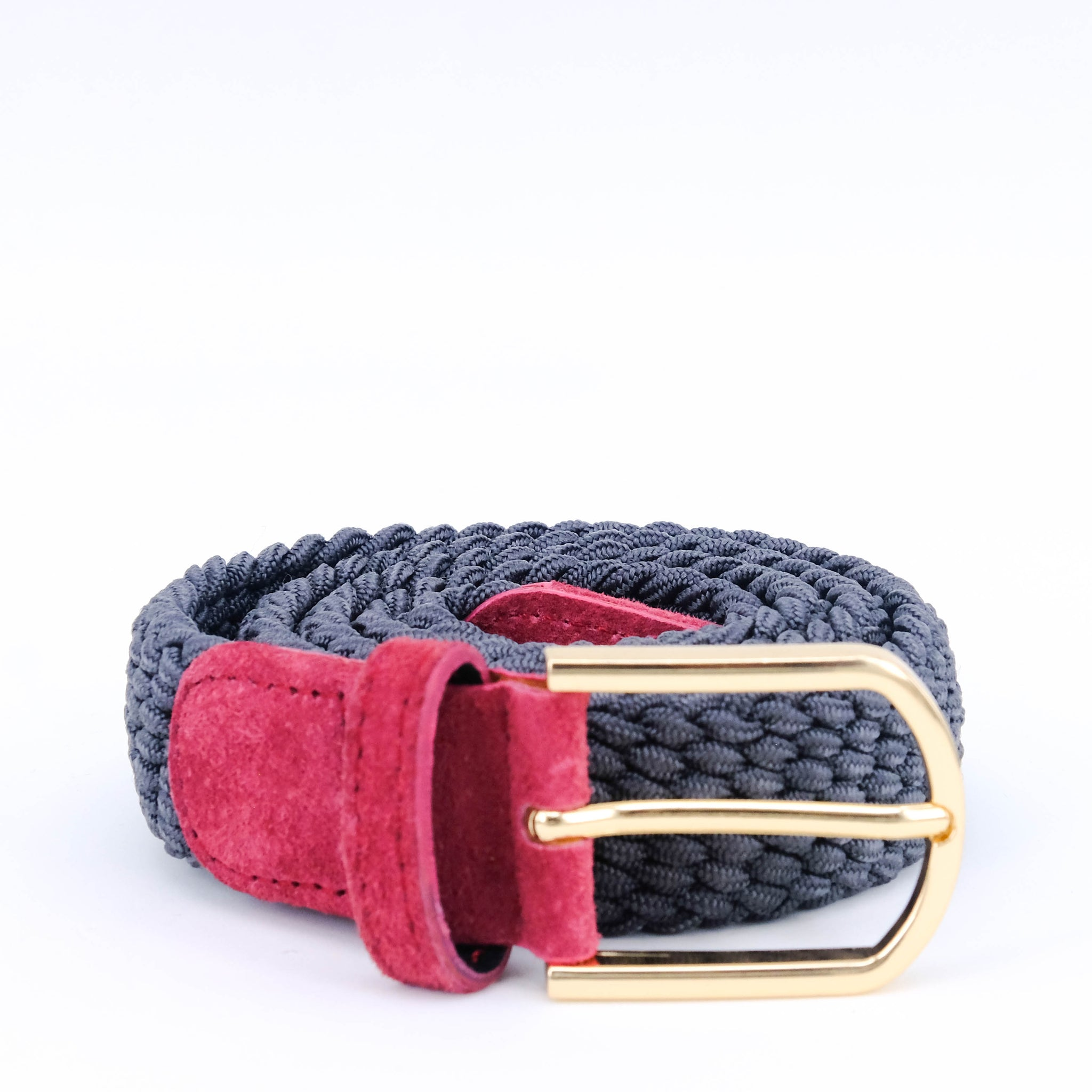 Slim Braided Belt | Grey | Pink Suede | Gold - STOCKHOLM