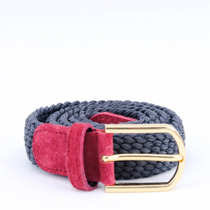 Slim Braided Belt | Grey | Pink Suede