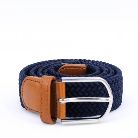 Braided Belt | Navy | Cognac Leather | Steel - STOCKHOLM