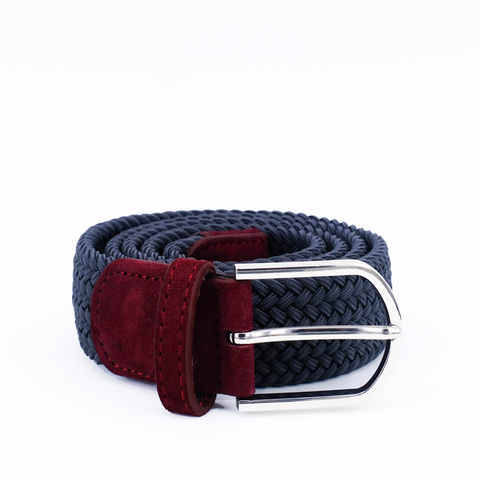 Braided Belt | Grey | Burgundy Suede | Steel - STOCKHOLM