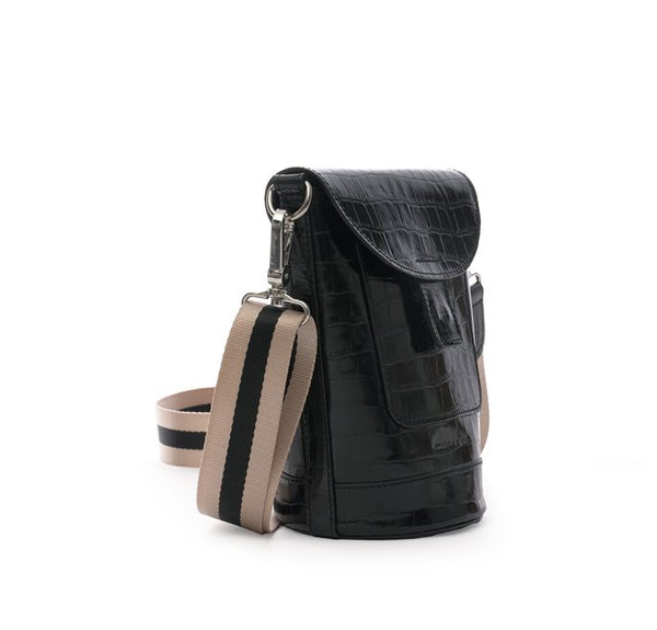 Bottle Bag | Croco Leather | Black - STOCKHOLM