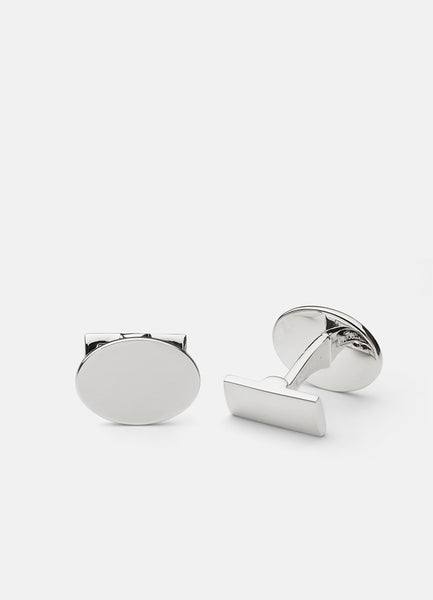 Cufflinks | Black Tie Collection | Silver Oval - STOCKHOLM