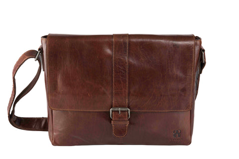 New Messenger Bag | Brown | Waxed Buffalo Leather - STOCKHOLM