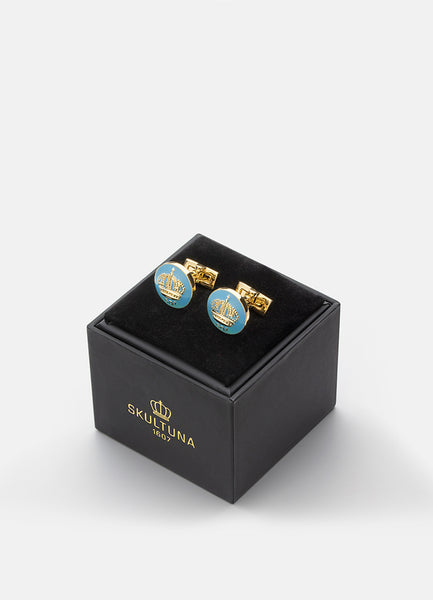 Cufflinks | The Skultuna Crown Gold | Gustavian Light Blue - STOCKHOLM