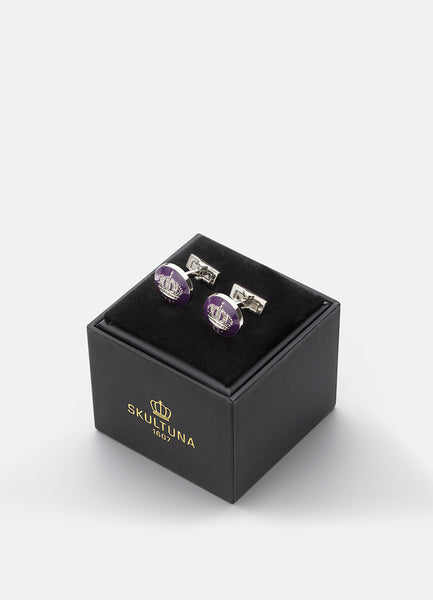 Cufflinks | Skultuna Crown | Silver Plated | Palatine Purple - STOCKHOLM
