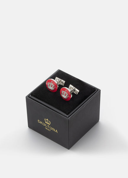 Cufflinks | Skultuna Crown | Silver Plated | Italian Racing Red - STOCKHOLM