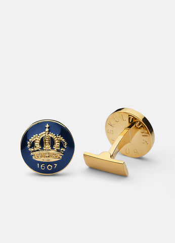 Cufflinks | The Skultuna Crown Gold | Royal Blue - STOCKHOLM