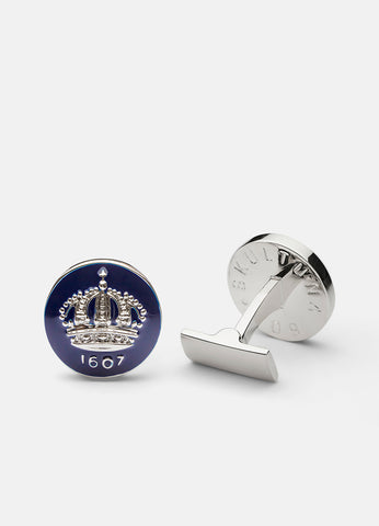 Cufflinks | Skultuna Crown | Silver Plated | Royal Blue - STOCKHOLM