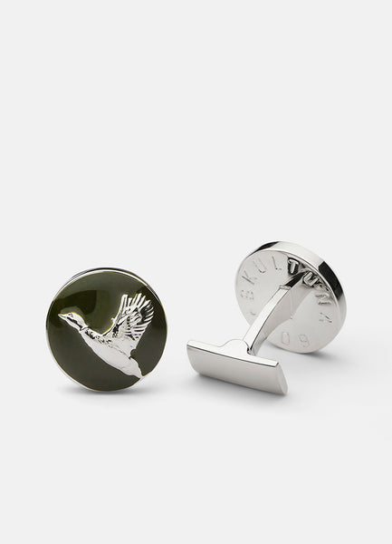 Cufflinks | The Hunter | Silver & Green | The Flying Duck - STOCKHOLM