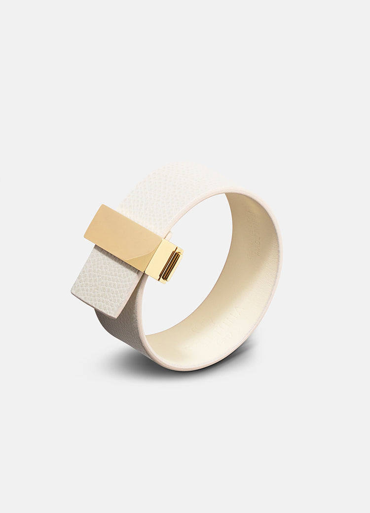 Leather Bracelet | Clasp | Thin Gold | White - STOCKHOLM