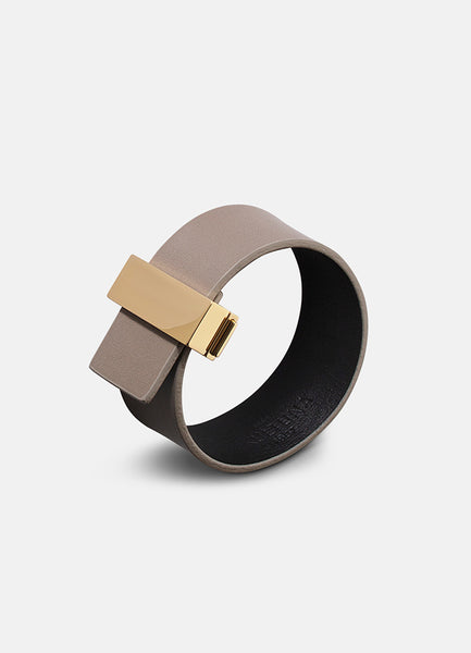 Leather Bracelet | Clasp | Thin Gold | Grey - STOCKHOLM