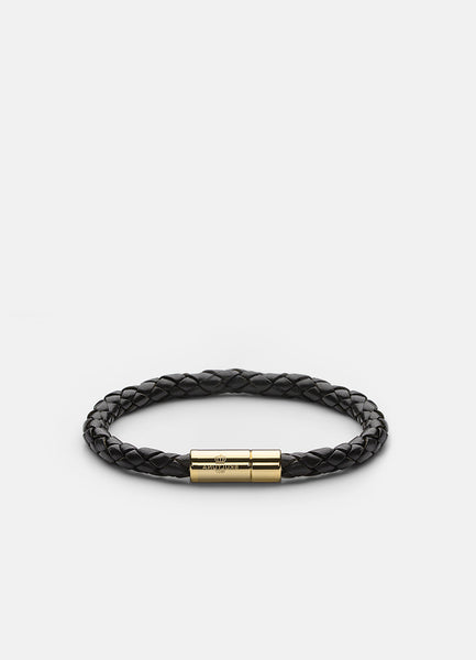 Leather Bracelet | 6mm | Gold | Black - STOCKHOLM