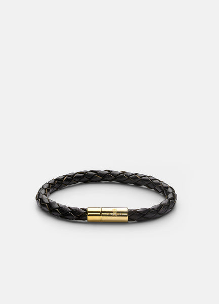 Leather Bracelet | 6mm | Gold | Dark Brown - STOCKHOLM