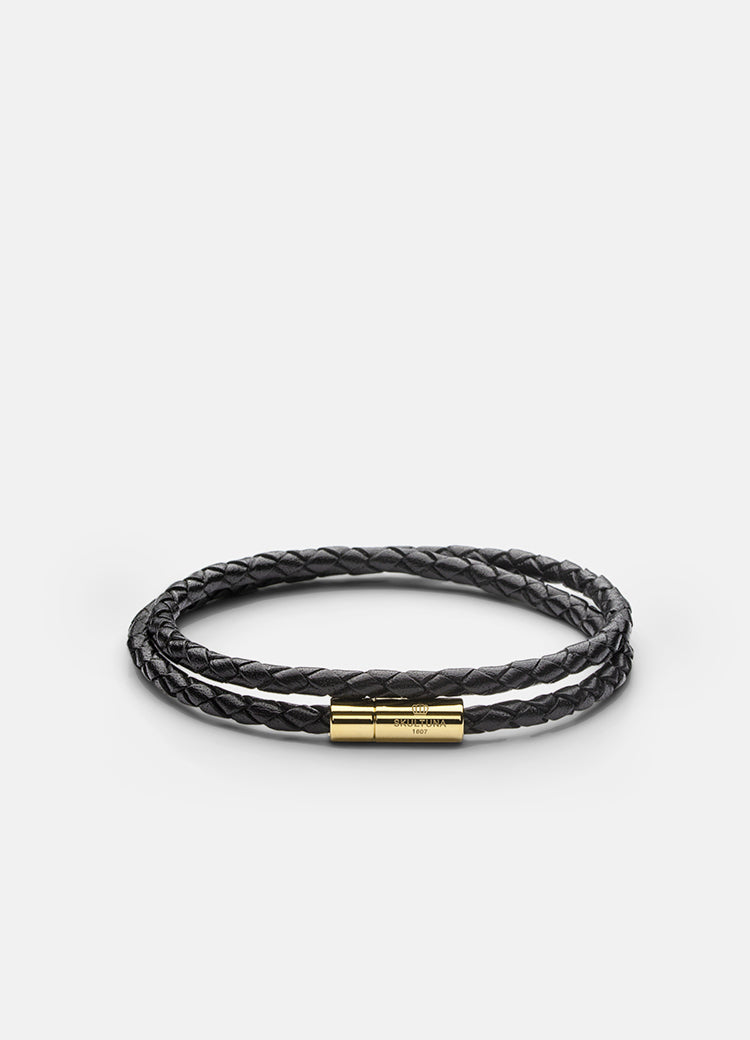 Leather Bracelet | 4mm | Gold | Black - STOCKHOLM